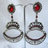 Red Dangle Statement Earrings