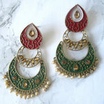 Red and Green Intricate Earrings - Gold Plated
