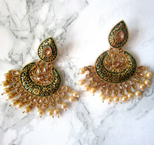 Load image into Gallery viewer, Truly gorgeous green and gold coloured earrings with intricate paint detail and faux pearls. These are the perfect statement earrings for events, parties and special occasions.