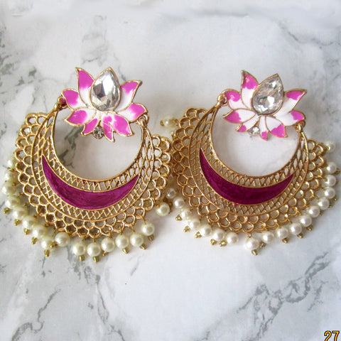 Large Gold Earrings with a Lotus at the top, faux pearl detail and hand painted pink detail.