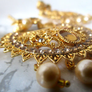 Golden Tikka and Earring Set