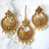 Golden Tikka and Earring Set - Gold Plated