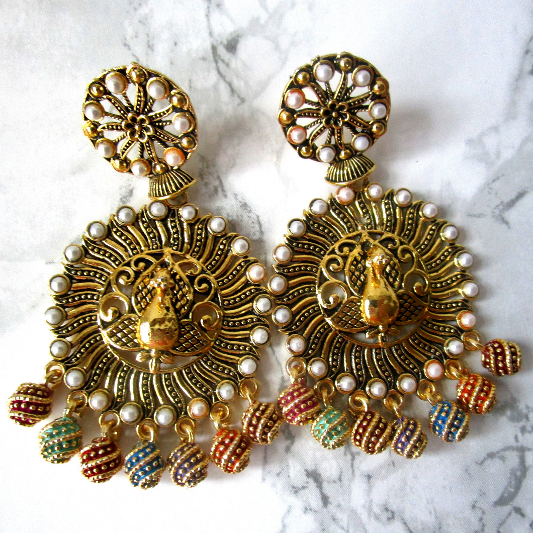 Multi Coloured Peacock Earrings