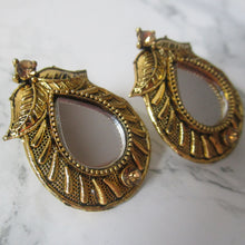 Load image into Gallery viewer, Beautiful lightweight gold mirror studs with teardrop shape and teardrop shaped mirror in the middle. These earrings are perfect for all occasions including everyday wear, parties and even for work.
