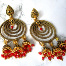 Load image into Gallery viewer, Spiral Gold Earrings with red detail. Perfect for making a statement on all occasions