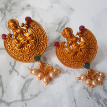 Load image into Gallery viewer, Gold and green small and lightweight lakshmi earrings, perfect for everyday and special events.
