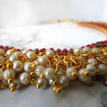 Load image into Gallery viewer, Pearl Clustered Emerald & Ruby Necklace