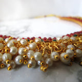Pearl Clustered Emeralds & Rubies Necklace - Gold Plated