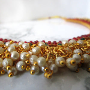Pearl Clustered Emerald & Ruby Necklace