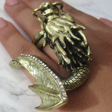 Load image into Gallery viewer, Large Gold Two Finger Knukleduster dragon ring - perfect for making a statement on all occasions.