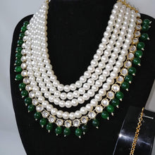 Load image into Gallery viewer, Faux Pearl and Green stone Necklace set with earrings and tikka. Perfect for all occasions.