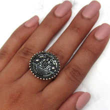Load image into Gallery viewer, Detailed in shape and design. This ring has God Shiva, also known as Mahadeva on the face. The ring is adjustable, and will fit all ring sizes. This ring is perfect for everyday or a special occasions.