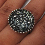 Detailed in shape and design. This ring has God Shiva, also known as Mahadeva on the face. The ring is adjustable, and will fit all ring sizes. This ring is perfect for everyday or a special occasions.