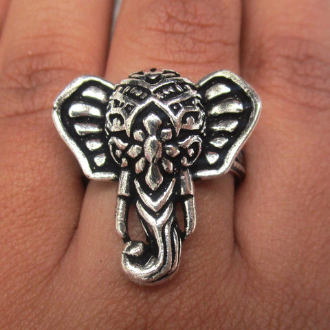 Detailed in shape and design. This ring has a beautiful elephant head on the face. The ring is adjustable, and will fit all ring sizes. This ring is perfect for everyday or a special occasions.