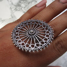 Load image into Gallery viewer, Large silver adjustable wheel ring with intricate detail. This is a perfect statement ring for all occasions.