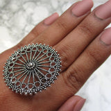 Large silver adjustable wheel ring with intricate detail. This is a perfect statement ring for all occasions.