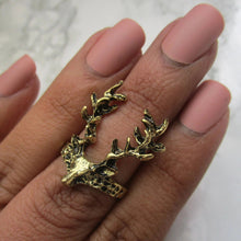 Load image into Gallery viewer, One Size Gold Stag Midi Ring, suitable for all occasions.