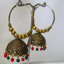 Load image into Gallery viewer, Simple but intricate gold hoops with beautiful red and green beads at the bottom. Lightweight and beautiful. The perfect statement piece.