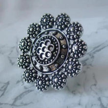 Load image into Gallery viewer, Adjustable silver ring with intricate design and detail. This statement ring is lightweight and perfect for everyday and special events
