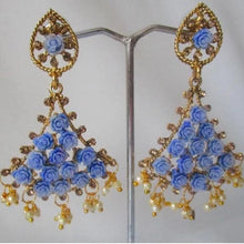 Load image into Gallery viewer, Gorgeous blue trumpet shaped drop earrings with faux pearl detail at the bottom and small blue roses in the earring itself. Beautiful statement earrings suitable for everyday or special occasions.