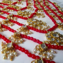 Load image into Gallery viewer, Seven layer beaded detail gold and red necklace with matching earrings. Perfect for all special occasions.