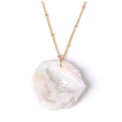 White Crystal Druzy Necklace