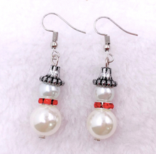 Load image into Gallery viewer, Faux Pearl Snowman Earrings