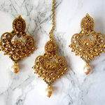 Gold Plated Detailed Tikka and Earring set with Faux Pearls