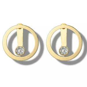 Gold Circle Diamond Ear Jacket