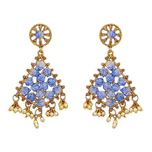 Load image into Gallery viewer, Gorgeous blue kite shaped drop earrings with faux pearl detail at the bottom and small blue roses in the earring itself. Beautiful statement earrings suitable for everyday or special occasions.