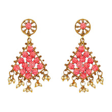 Load image into Gallery viewer, Gorgeous red kite shaped drop earrings with faux pearl detail at the bottom and small red roses in the earring itself. Beautiful statement earrings suitable for everyday or special occasions.
