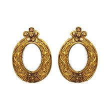 Load image into Gallery viewer, Beautiful and intricate lightweight gold mirror studs with oval shaped mirror in the middle. These earrings are perfect for all occasions including everyday wear, parties and even for work.