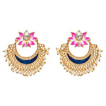 Large Gold Earrings with a Lotus at the top, faux pearl detail and hand painted blue detail.