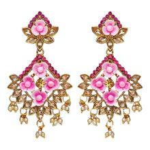 Load image into Gallery viewer, Gorgeous pink diamond shaped style drop earrings with faux pearl detail at the bottom and pink flowers in the earring itself. Beautiful statement earrings suitable for everyday or special occasions.