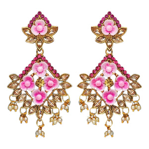 Gorgeous pink diamond shaped style drop earrings with faux pearl detail at the bottom and pink flowers in the earring itself. Beautiful statement earrings suitable for everyday or special occasions.