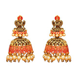 Gold and orange lakshmi earrings with faux pearl detail at the bottom. These statement earrings are perfect for everyday and special occasions.