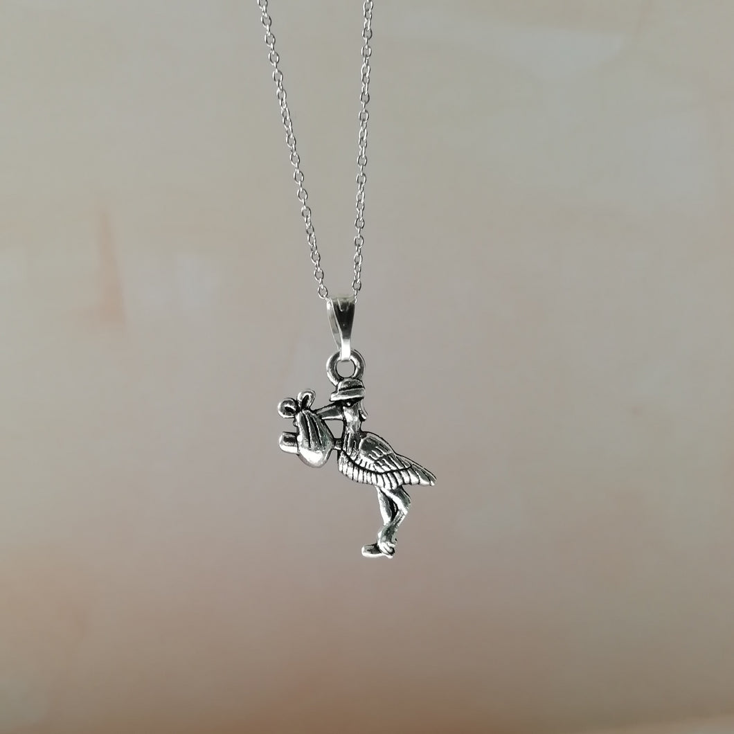 Stork With Baby Necklace