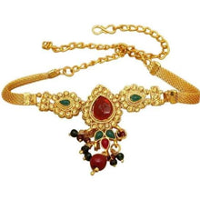 Load image into Gallery viewer, Beautiful gold chain armband or choker with faux emerald and ruby detail. Perfect for special occasions to make a statement. Beautiful statement jewellery =.