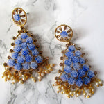 Blue Bell Rose Earrings