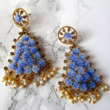 Blue Rose Flower Bell Shape Earrings with Stone Detail and Faux Mini Pearls - Gold Plated Earrings