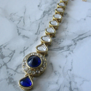 Simple Blue Tikka with gold metal and stone detail
