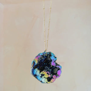 Blue Rainbow Druzy Necklace