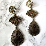 Fan and Feather Inspired Dangle Earrings with Stone Detail