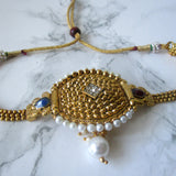 Gold Plated Adjustable Detailed Armband with Faux Pearl Detail