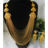 Lightweight and unusual gold chain necklace set with matching earrings. Perfect for parties and special occasions.