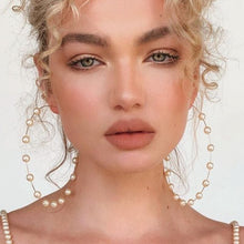 Load image into Gallery viewer, Gold Pearl Oversized Hoop Earrings