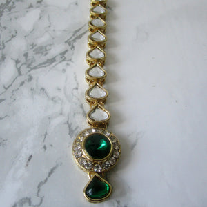 Simple Green Tikka with gold metal and stone detail