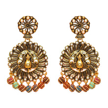 Load image into Gallery viewer, Unique and detailed peacock earrings with multicoloured detail at the bottom in purple, green, red, blue and orange. These earrings are perfect for making a statement.