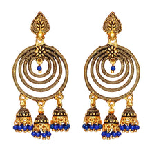 Load image into Gallery viewer, Spiral Gold Earrings with blue detail. Perfect for making a statement on all occasions