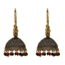 Load image into Gallery viewer, Simple but intricate gold hoops with beautiful black and red beads at the bottom. Lightweight and beautiful. The perfect statement piece.